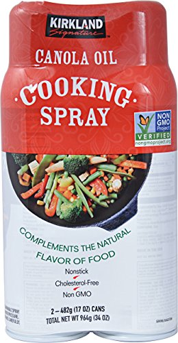 Kirkland Signature Canola Oil Cooking Spray Non-GMO 2/17 oz by Kirkland Signature