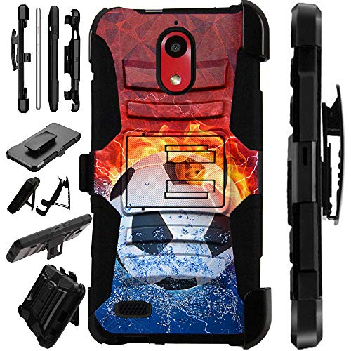 Compatible Coolpad Illumina (2018) Case Armor Hybrid Silicone Cover Stand LuxGuard Holster (Soccer Storm) ()