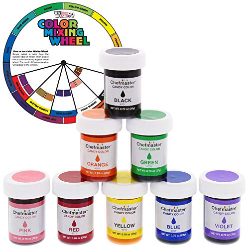 U.S. Cake Supply 8 Bottle Set of 20-gram Liquid Candy Food Color with Color Mixing Wheel]()