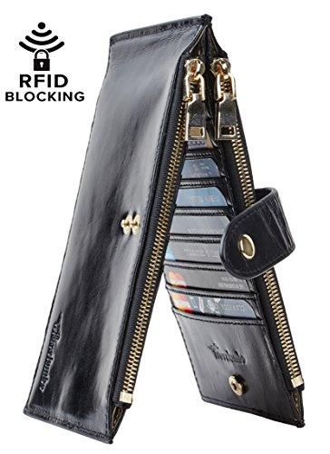 Travelambo Womens Walllet RFID Blocking Bifold Multi Card Case Wallet with Zipper Pocket (wax leather black)