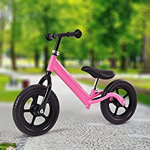 "Costzon 12"" Classic No-Pedal Balance Bike Walking Bicycle for Kids Age 2-7 w/ Adjustable Seat (Pink)"