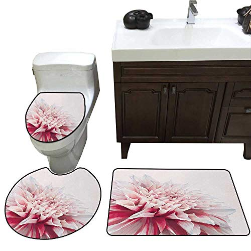 John Taylor Dahlia Bath Rug Set Close Up Dahlia Blossom with Red and White Petals One Single Large Flower Toilet Floor mat Set Ruby Ivory White