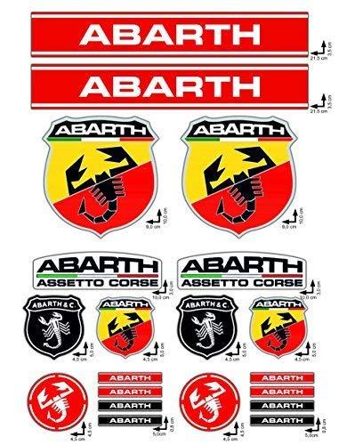GamesMonkey Adhesivos Stickers Set Abarth Fiat Carreras Logo 20pz Vinilo Pulido
