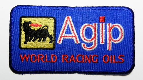 agip-motor-oil-patches-blue-11x6-cm-sew-iron-on-patch-to-cloth-jacket-jean-cap-t-shirt-and-etc