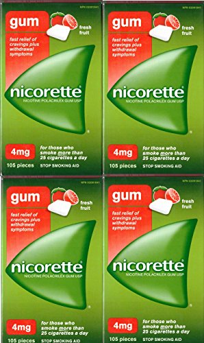 Nicorette Nicotine Gum: FRESH FRUIT 4 MG (4 packs of 105, 420 Pieces) (Stop Smoking Aid) by Nicorette