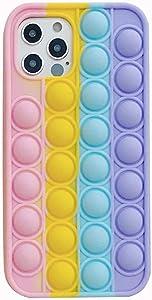 Fidget Toys Phone Case,Push Poping Bubble Silicone Protecive Phone Case for iPhone 12 pro max/12 pro/8plus/7plus/se 2020/8/8/xr/11 pro max Rainbow Color (for iPhone se 2020/8/7/6/6s)