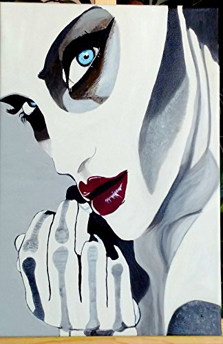 Home Comforts Peel-n-Stick Poster of Face Red Lips Halloween Oil Painting Woman Fantasy Poster 24x16 Adhesive Sticker Poster Print -