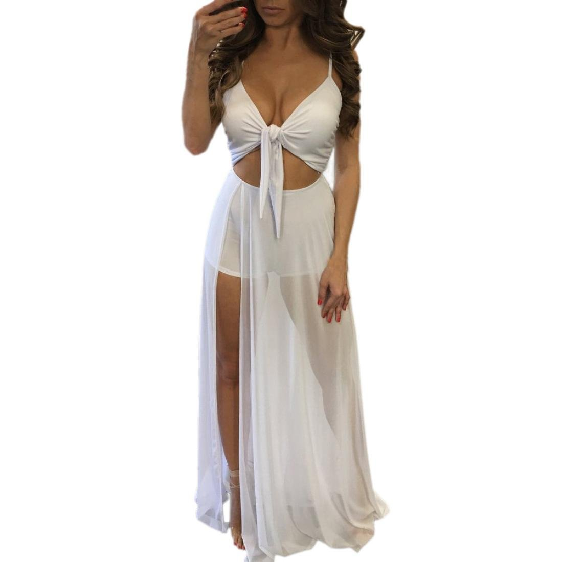 Coohole New Fashion Women's Sexy Jumpsuit Romper Short Trousers Bodycon Playsuit Long Dress (White, L)