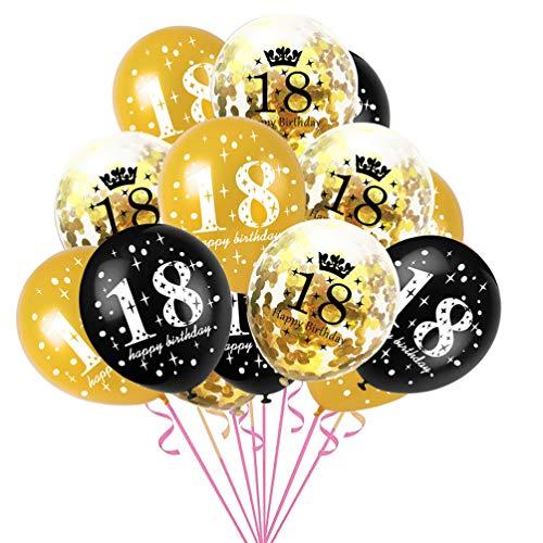 B Day Ballons (30pcs 12inch Latex Confetti Balloon 18 Year Old Happy Birthday Party Balloon Confetti Set)