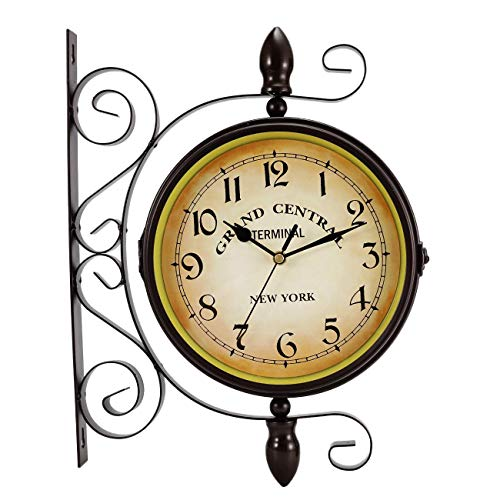 (Double Sided Wall Clock, Wrought Iron Vintage Station Clock Two Faces Dual side Antique Vintage Circle Station Wall Side Hanging Clock with Scroll Wall Side Mount Home Décor Wall Clock, 8-inch)