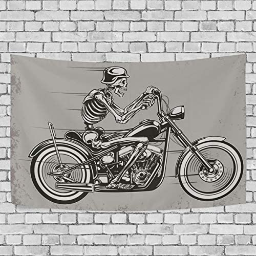 OPRINT Hipster Sugar Skull Motorcycle Tapestries 90 x 60 Wall Decor Tapestry Wall Art Bedroom Living Room Dorm Wall Hanging Home Decor Tapestry