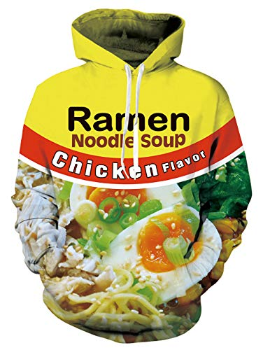 SKYRAINBOW Women's Men's Hoodies 3D Chicken Ramen Noodle Soup Long Sleeve Pullover Personalized Fleece Hooded Sweatshirts -