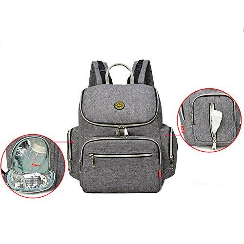 Multifuncional momia mochila de gran capacidad bebé pañal Nappy bolsa vivero bolso cambiador Bolso Hombro Mochila Grey2 Grey1