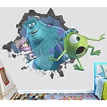"Monster Inc Mike Wazowski James P Wall Decal Smashed 3D Sticker Vinyl Decor Mural Movie Kids - Broken Wall - 3D Designs - OP411 (Small (Wide 22"" x 16"" Height))"