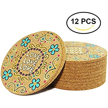 Coasters For Drinks   Set Of 12 Colorful Cork Coaster For Drink   Desktop  Protection Prevent Furniture Damage   4 Inches Tabletop Drink Coasters