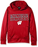 NCAA Wisconsin Badgers Youth Boys''Overlap'' Performance Hoodie, Dark Red, Youth Large(14-16)