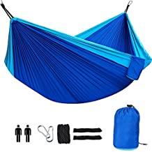 Ephram Outdoor Double Camping Hammock, Ultralight Portable 2 Persons Parachute Hammocks Lightweight Folding Nylon Travel Hammock Hanging Bed with Steel Carabiners Tree Straps Carrying Bag Included For Indoor Sleeping Backyard Outdoor Camping Hiking Backpacking Garden Beach Yard Travel