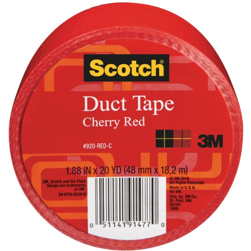 - Scotch Duct Tape, Cherry Red, 1.88-Inch by 20-Yard