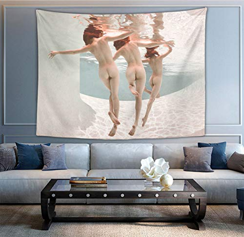 NiYoung Wall Hanging Queen Tapestry, Boho Hippie Hippy Wall Tapestry, Indian Wall Decor, Sexy Women Girls Butt Under Sea Nude Art Kids Girls Boys Room Hippie Tapestries