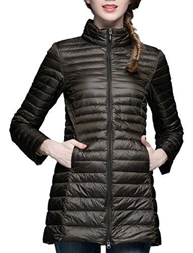 CHERRY CHICK Women's Light Weight Puffer Down Long Jacket Medium Army Green - Nylon Down Jacket