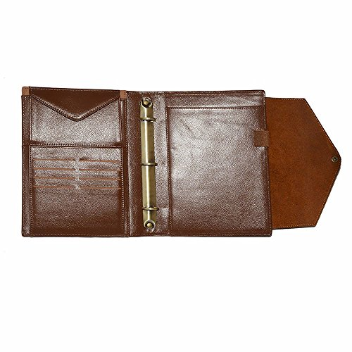 Wool Felt Crazy Horse Leather Organizer 3 Ring Binder Portfolio with A5 - Padfolio Iii Junior