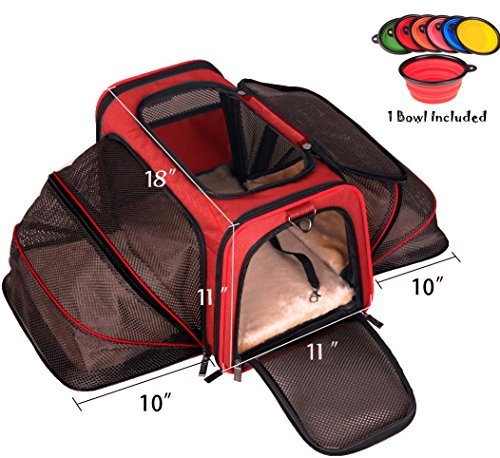 Premium Airline Approved Expandable Pet Carrier by Pet Peppy- TWO SIDE Expansion, Designed for Cats, Dogs, Kittens, Puppies - Extra Spacious Soft Sided Carrier! (RED) (Divided Dish Tag)