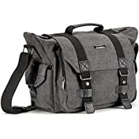 SLR Camera Bag, Evecase Large Canvas Messenger SLR/DSLR Camera Bag with Rain Cover for Digital Cameras, Laptops and other Accessories - Gray