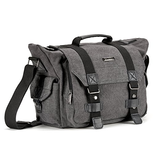 SLR Camera Bag, Evecase Large Canvas Messenger SLR/DSLR Camera Bag with Rain Cover for Digital Cameras, Laptops and other Accessories - Gray by Evecase