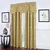 Jacobean Caramel Gold Yellow Scallop Pleated Window Valance For Sale