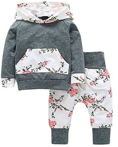 2 Pieces Outfit, Long Sleeves Vintage Floral Hooed Hoodie Pullover & Harem Jogger Pants Set Suit for Infant, Toddler Baby & Little Girls, Grey 2-3 Years = Tag (3 Piece Harem)