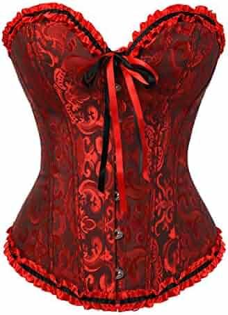 0f5d5f05c2e Zhitunemi Womens Floral Black Lace Trim Corset Overbust Waist Cincher Bustier  Top