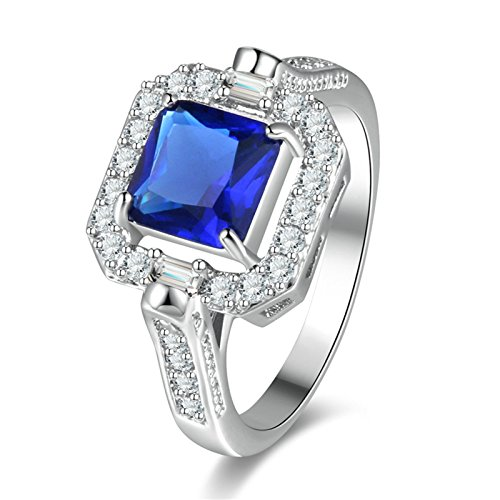 ANAZOZ Silver Plated Base Promise Ring for Women Square Zircon White Size 6
