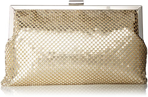 Jessica McClintock Dakota Mesh Framed Pouch Evening Clutch, Light Gold (Sequin Clutch Mesh)