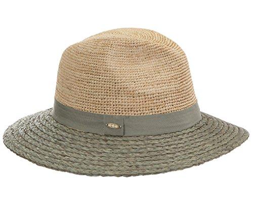 21 Color Block Raffia Straw Hat - Grey ()