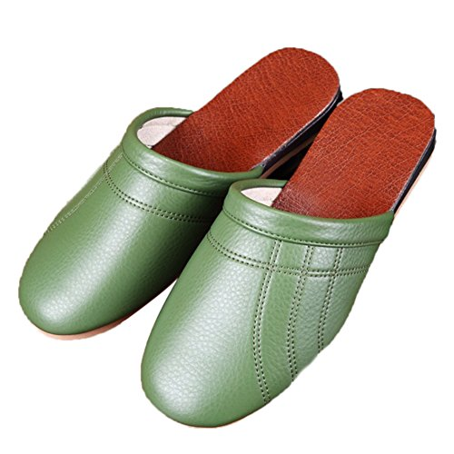 Vert Autumn Summer For Tellw Leather W Corium Women Men Cowhide Spring smelly Wooden Slippers Anti Floor qZ1wtUA1WB