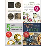 Books : Salt fat acid heat [hardcover], medic food for life, 5 simple ingredients slow cooker, tasty and healthy 4 books collection set