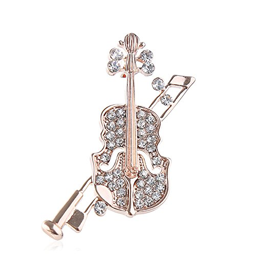 (Dwcly Elegant Clear Rhinestone Crystal Violin Bow Cello Fiddle Music Instrument Brooch Pin Trendy Guitar Breastpin (rose)
