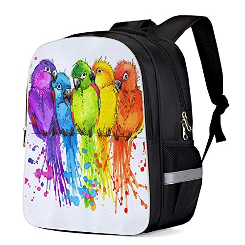 Cool School BackpackWatercolor Cute Birds School Book Backpack for Teens Boys Girls, Colorful Parrot Durable Laptop Computer Bag for Day Trips Mountain Sports (Large)