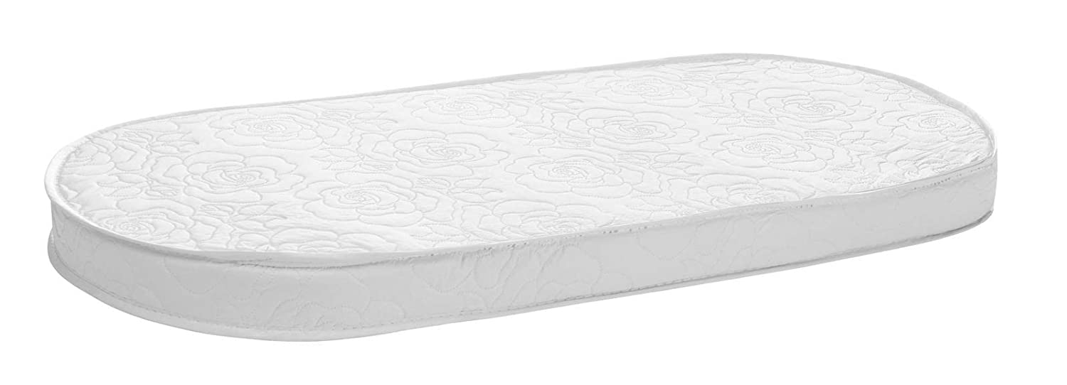 Breathable Foam Interior Thick 16 x 31 x 2 Soft White Also Fits Portable Bassinets Waterproof Exterior Padded Design Big Oshi Waterproof Oval Baby Bassinet Mattress Comfy