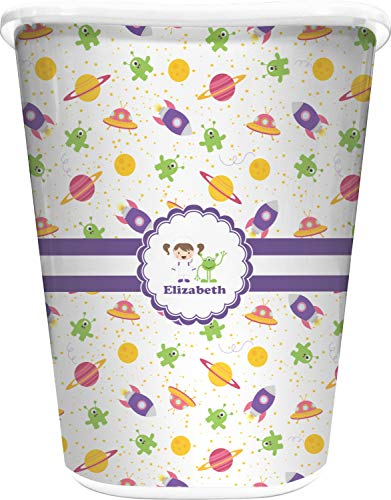 (RNK Shops Girls Space Themed Waste Basket - Single Sided (White) (Personalized))