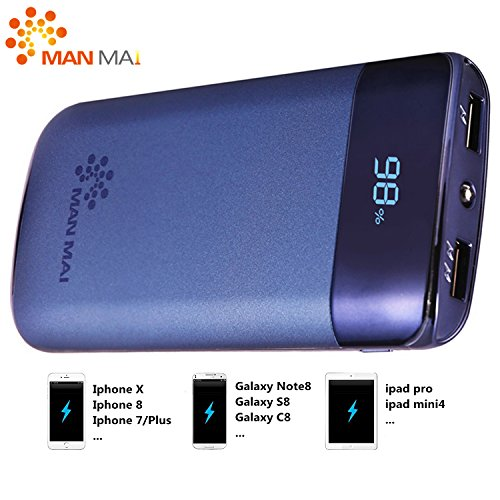 MANMAI 20000mAh Power Bank (Dual USB Port, 3.1A Total) External Portable Charger...