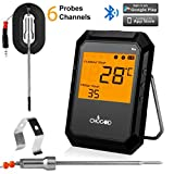 Meat Thermometer, Bluetooth Digital Cooking Thermometer WEINAS 6-Probe-Ports Alarm Monitor BBQ Grill Thermometer, IMPROVED Stainless Steel Probes Wireless Thermometer for Food Smoker Oven Kitchen