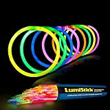 Lumistick 8 Inch Glow Sticks | 100 Pack Bulk Party Favors Bracelets | Light Sticks for Neon Party Glow Necklaces | Glow in The Dark Party Supplies for Kids or Adults (Assorted, 100 Glow Sticks)