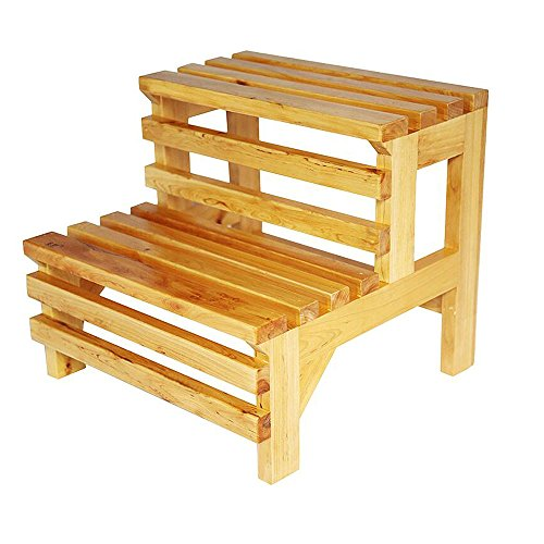 - Solid Wood Step Stool,Modern Creative 2-layer Shoe Bench Stool,Natural Color Waterproof Anti-corrosion Elderly Bathroom Stool Size: 39x42x38cm