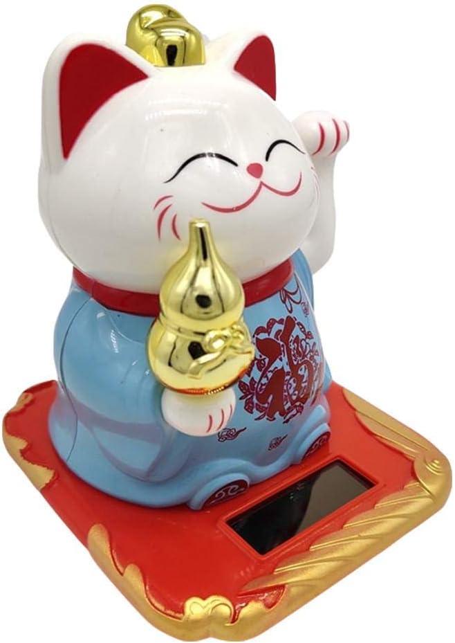 Lizefang 1 Pc Solaire Aliment/é Fortune Chat Mignon Accueillant Fortune Symbole Figurine Chaperon Fortune Chats Chats Statue Japonaise