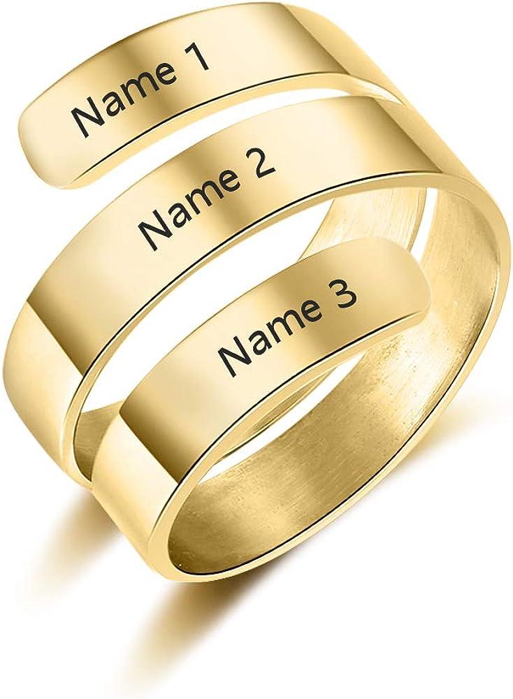 Gaosh Personnalis/é Gravure Twist Ring 3 Pr/énom Ouverture Nom R/églable BFF Personnalis/é Bague M/ère Cadeau pour Anniversaire Valentine Anniversaire Anneau Argent Femmes