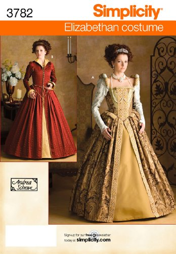 [Simplicity Andrea Schewe Pattern 3782 Misses Elizabethan Costume Dresses Sizes 14-16-18-20] (Elizabethan Costume Patterns)