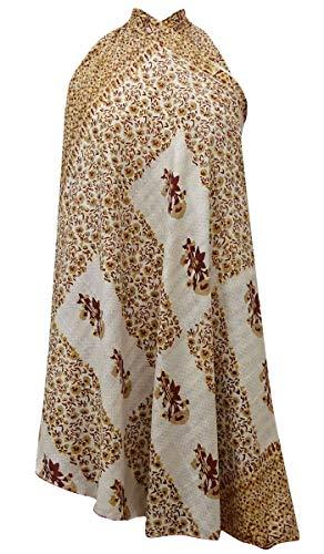 Indianbeautifulart Pure Soie Vintage Saree rversible Femmes Imprimer Maxi Wrap Beige