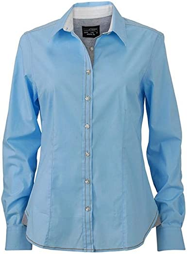 James and Nicholson - Camisa para Mujer señora (XXL) (Azul): Amazon.es: Ropa y accesorios