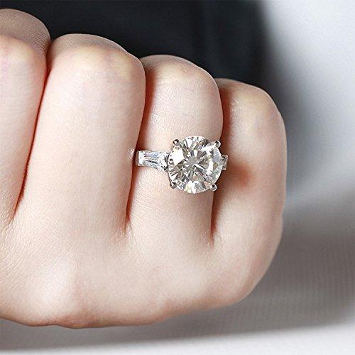 Gowe 5carats CT f fiançailles de couleur Lab Cultivées Charles en diamant véritable 14K Or blanc 585pour femme